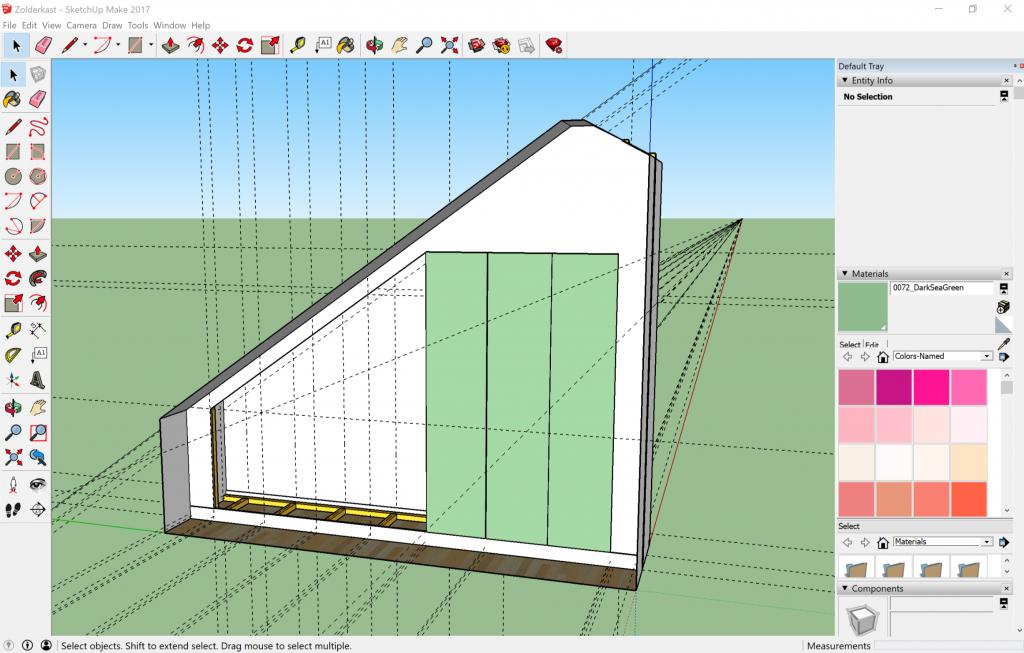kastenwand onder een schuin dak tekenen met SketchUp.